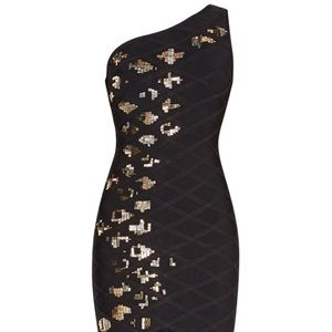 HERVE LEGER Hayley Diamond quilting dress black S